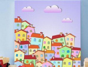 Πολύχρωμη μικρή πόλη Παιδικά Πίνακες σε καμβά 50 x 50 cm