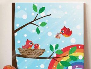 Οικογένεια πουλιών σε ουράνιο τόξο Παιδικά Πίνακες σε καμβά 50 x 50 cm