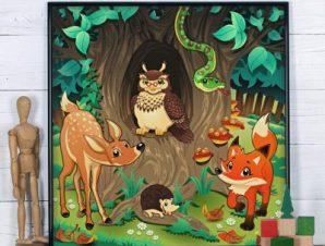 Ζώα του δάσους Παιδικά Πίνακες σε καμβά 50 x 50 cm