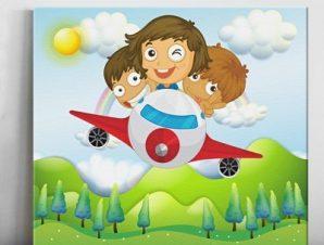 Παιδάκια σε αεροπλάνο Παιδικά Πίνακες σε καμβά 47 x 54 cm