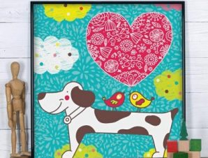 Σκυλάκι με καρδούλα Παιδικά Πίνακες σε καμβά 50 x 50 cm