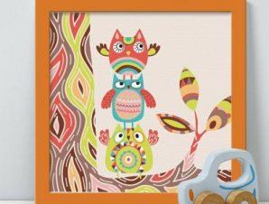Κουκουβάγιες με μοτίβα Παιδικά Πίνακες σε καμβά 50 x 50 cm