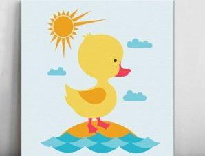 Παπάκι στη θάλασσα Παιδικά Πίνακες σε καμβά 50 x 50 cm