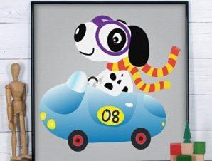 Σκύλος οδηγός Παιδικά Πίνακες σε καμβά 50 x 50 cm