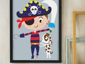 Μικρός πειρατής Παιδικά Πίνακες σε καμβά 58 x 44 cm