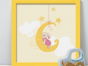Λαγουδάκι Παιδικά Πίνακες σε καμβά 50 x 50 cm