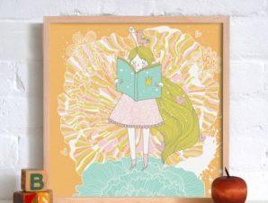 Πριγκίπισσα που διαβάζει Παιδικά Πίνακες σε καμβά 50 x 50 cm