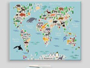 Χάρτης με ζώα Παιδικά Πίνακες σε καμβά 44 x 57 cm