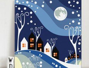 Χιονισμένο τοπίο Παιδικά Πίνακες σε καμβά 50 x 50 cm