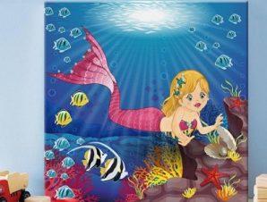 Μικρή γοργόνα στον ωκεανό Παιδικά Πίνακες σε καμβά 49 x 53 cm
