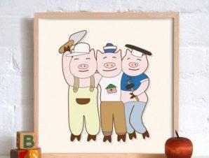 Τα τρία γουρουνάκια Παιδικά Πίνακες σε καμβά 50 x 50 cm