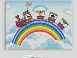 Τρενάκι, βόλτα στα σύννεφα Παιδικά Πίνακες σε καμβά 43 x 60 cm