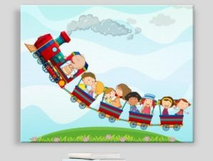 Πολύχρωμο τρενάκι Παιδικά Πίνακες σε καμβά 45 x 57 cm
