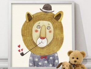 Λιοντάρι με καρδιές Παιδικά Πίνακες σε καμβά 50 x 50 cm