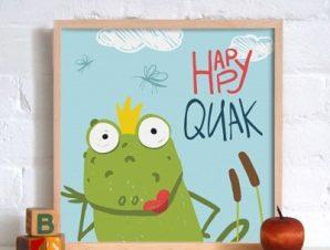 Χαρούμενος βάτραχος Παιδικά Πίνακες σε καμβά 50 x 50 cm