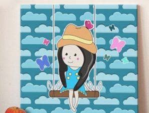 Κοριτσάκι σε κούνια Παιδικά Πίνακες σε καμβά 50 x 50 cm