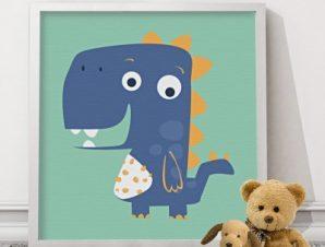 Μικρός δεινόσαυρος Παιδικά Πίνακες σε καμβά 50 x 50 cm