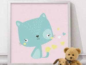 Χαριτωμένο πράσινο γατάκι Παιδικά Πίνακες σε καμβά 50 x 50 cm