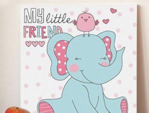 Μικρός ελεφαντάς Παιδικά Πίνακες σε καμβά 50 x 50 cm