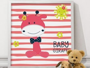 Μικρή καμηλοπάρδαλη Παιδικά Πίνακες σε καμβά 50 x 50 cm