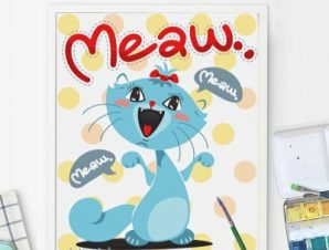 Χαρούμενη γάτα Παιδικά Πίνακες σε καμβά 56 x 45 cm