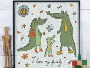 Κροκοδειλάκια Παιδικά Πίνακες σε καμβά 50 x 50 cm