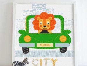 Λιονταράκι στο αυτοκίνητο Παιδικά Πίνακες σε καμβά 50 x 50 cm