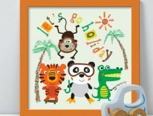 Χαρούμενα ζωάκια στο δάσος Παιδικά Πίνακες σε καμβά 50 x 50 cm