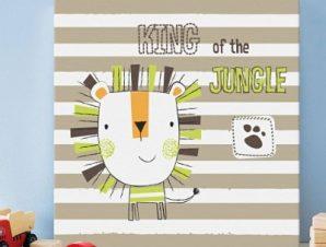 Χαρούμενο λιονταράκι Παιδικά Πίνακες σε καμβά 50 x 50 cm