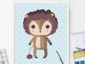 Λιονταράκι σε πουά φοντο Παιδικά Πίνακες σε καμβά 55 x 45 cm