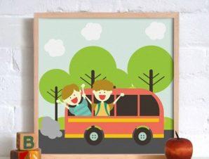 Ταξίδι Παιδικά Πίνακες σε καμβά 50 x 50 cm