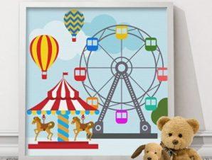 Παιχνίδι στο λούνα πάρκ Παιδικά Πίνακες σε καμβά 50 x 50 cm