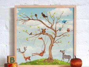 Ζωάκια σε δέντρο Παιδικά Πίνακες σε καμβά 50 x 50 cm