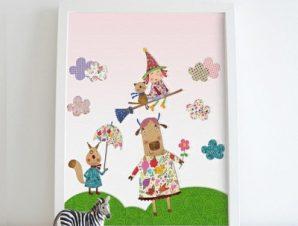 Μικρή Μάγισσα Παιδικά Πίνακες σε καμβά 53 x 47 cm