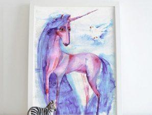 Όμορφος μονόκερος Παιδικά Πίνακες σε καμβά 59 x 43 cm