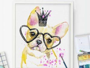 Σκυλάκι με γυαλιά καρδιές Παιδικά Πίνακες σε καμβά 53 x 48 cm