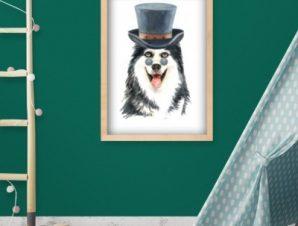 Λύκος με καπέλο Παιδικά Πίνακες σε καμβά 60 x 50 cm
