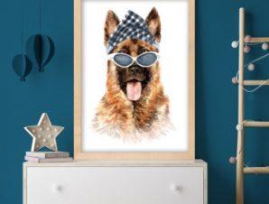 Λυκόσκυλο με γυαλιά Παιδικά Πίνακες σε καμβά 59 x 53 cm