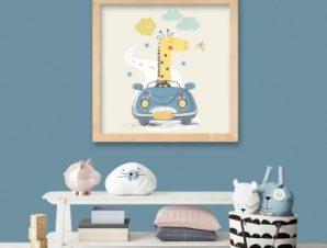 Καμηλοπάρδαλη Παιδικά Πίνακες σε καμβά 50 x 50 cm