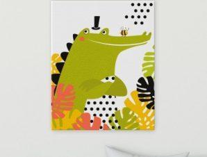 Κροκόδειλος Παιδικά Πίνακες σε καμβά 65 x 53 cm