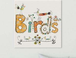 Λουλούδια και πουλιά Παιδικά Πίνακες σε καμβά 50 x 50 cm
