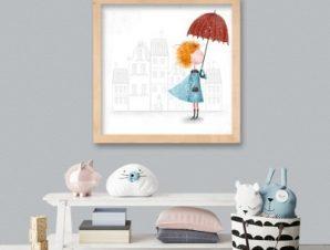 Κορίτσι με ομπρέλα Παιδικά Πίνακες σε καμβά 50 x 50 cm