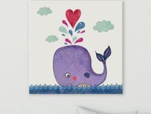 Φάλαινα Παιδικά Πίνακες σε καμβά 51 x 51 cm
