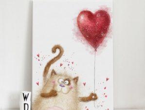 Χαριτωμένη γατούλα Παιδικά Πίνακες σε καμβά 76 x 54 cm