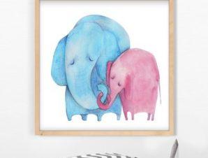 Ζευγάρι ελέφαντες Παιδικά Πίνακες σε καμβά 50 x 50 cm