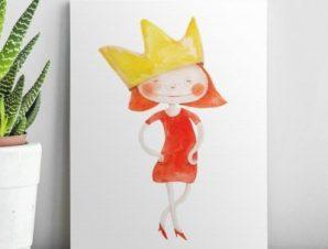 Στυλάτη πριγκίπισσα Παιδικά Πίνακες σε καμβά 67 x 51 cm