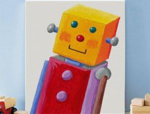 Ρομποτάκι Παιδικά Πίνακες σε καμβά 59 x 53 cm