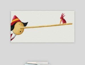 Πουλάκι στη μύτη του Πινόκιο Παιδικά Πίνακες σε καμβά 34 x 60 cm