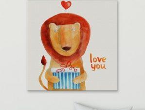 Λιοντάρι με δώρο Παιδικά Πίνακες σε καμβά 55 x 55 cm