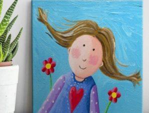Χαρούμενο κοριτσάκι Παιδικά Πίνακες σε καμβά 60 x 60 cm